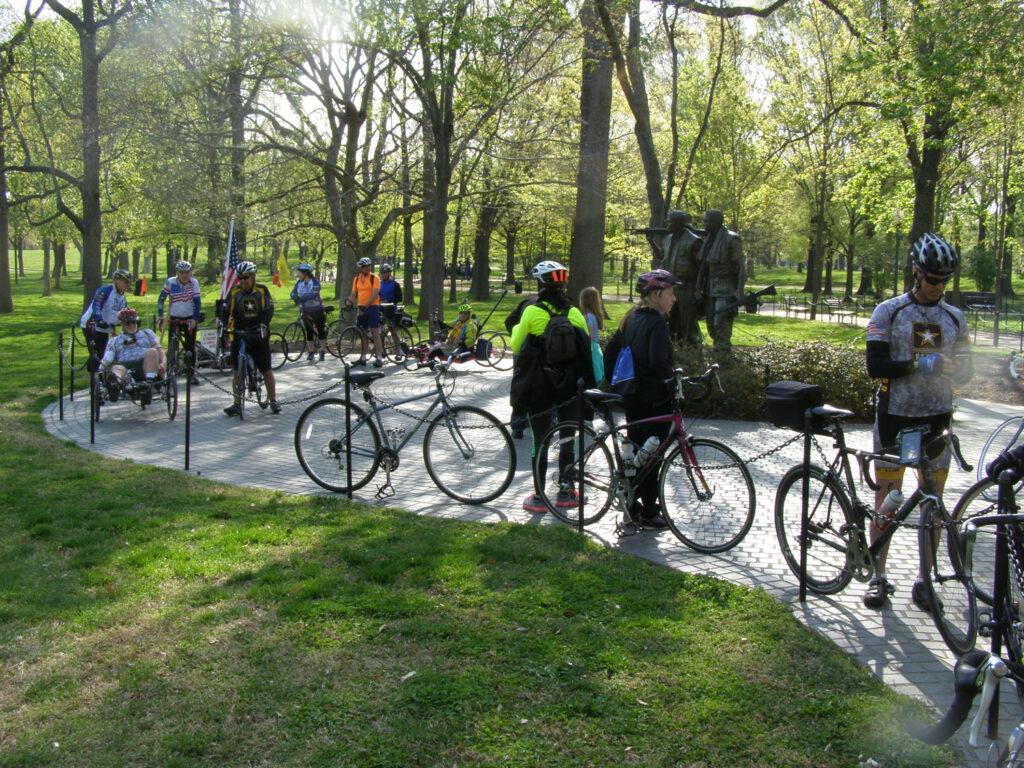 Memorials ride members visit a memorial in April, 2014.