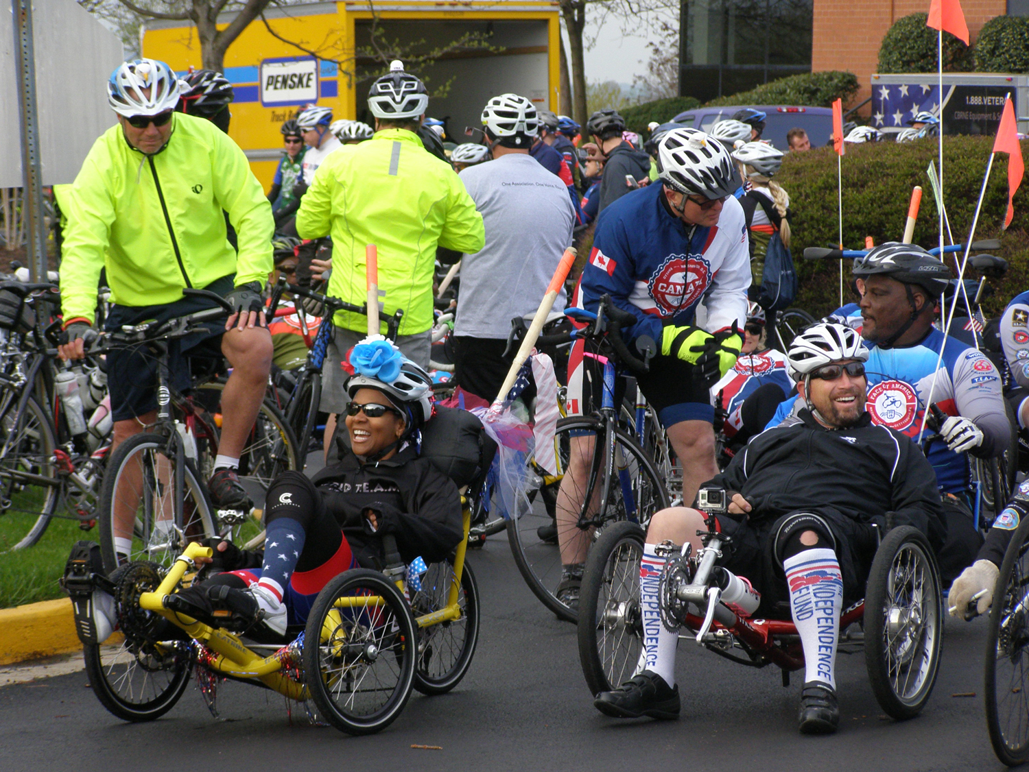 Riders prepare for the start of the April 26 ride.