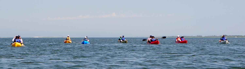 Coastal Team Challenge athletes paddle.