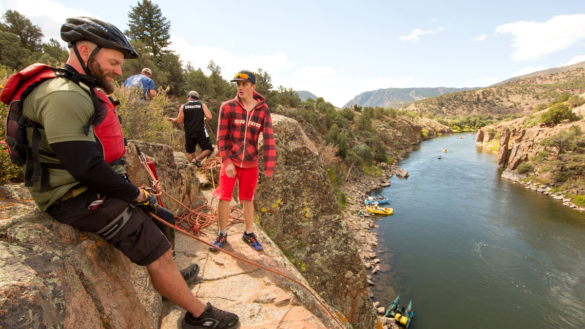 Rappelling into the Colorado River