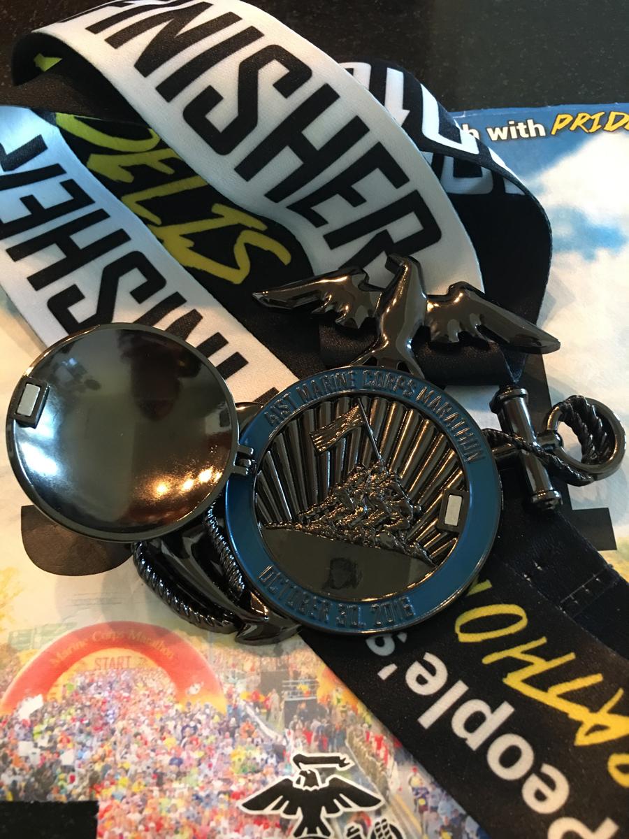 Finishing medal at the Marine Corps Marathon 2016