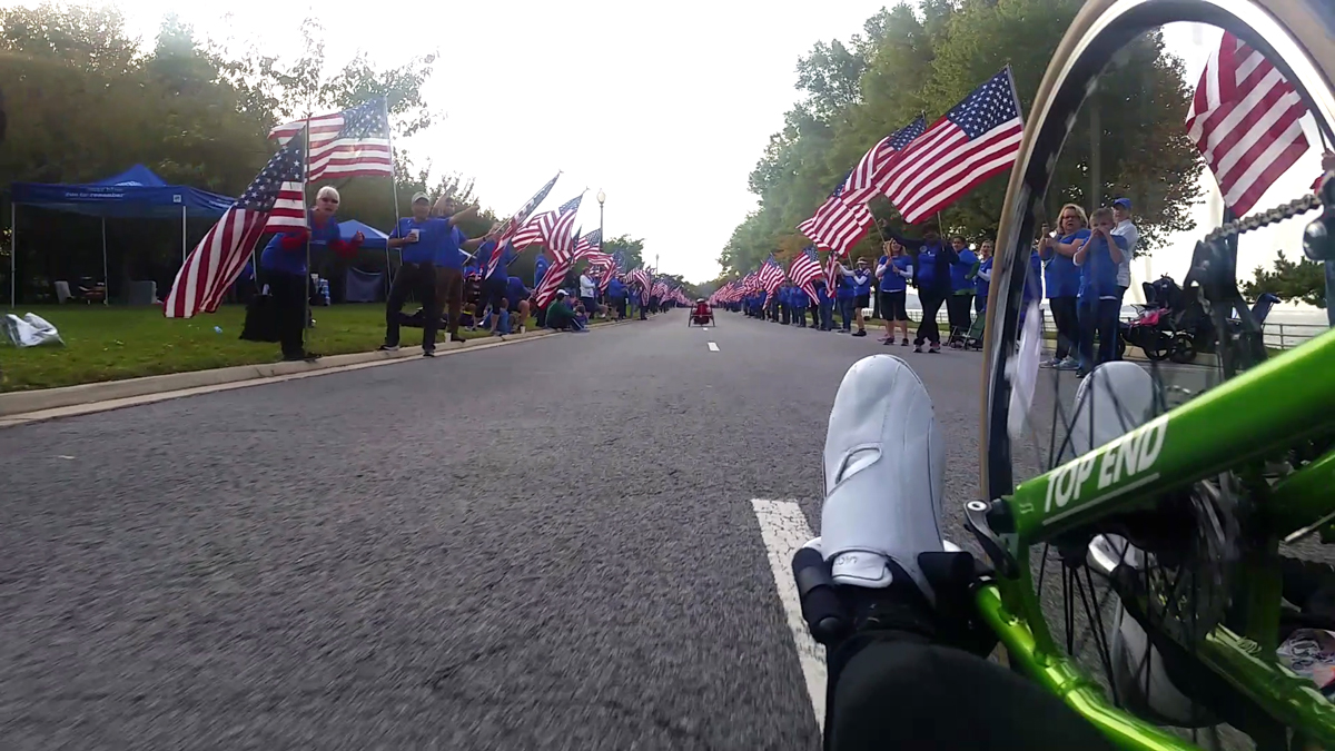 Hand cycle view of the course