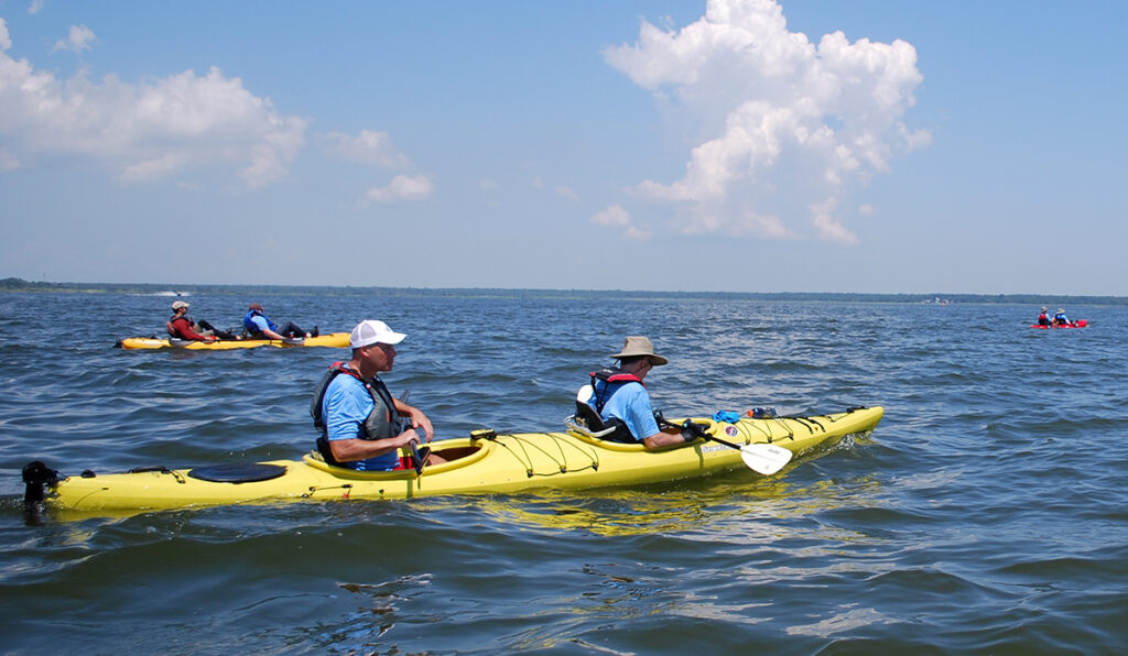 Paddling kayaks along the coast